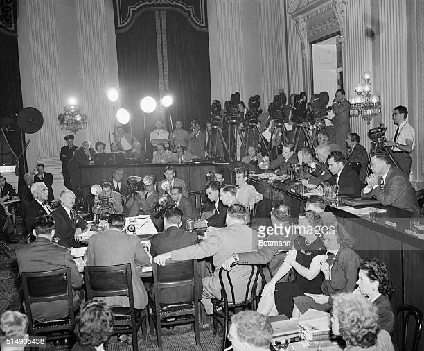 Washington DC Scene in the Caucus Room of the House Office Building as the House UnAmerican Activities Committee opened its investigation into...