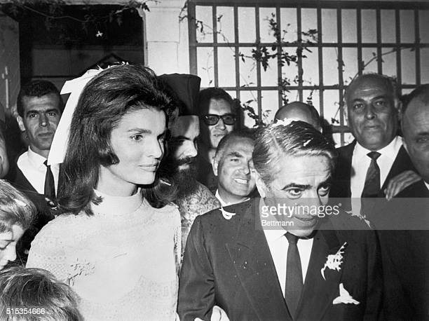 Skorpios Island, Off the coast of Greece- The former Jacqueline Kennedy and Aristotle Onassis leave the chapel on Onassis' private island following...