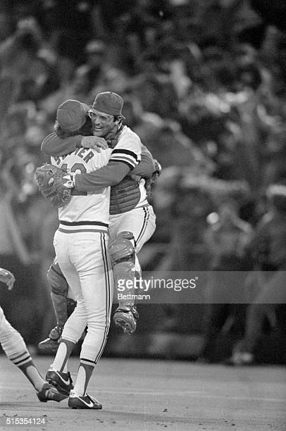 St Louis MO St Louis Cardinals' catcher Darrell Porter jumps into the arms of Cardinal relief pitcher Bruce Sutter The St Louis Cardinals defeated...