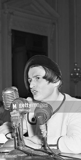 Washington DC Ayn Rand author of The Fountainhead is shown on the stand as she testified at opening session of hearings into alleged Communistic...