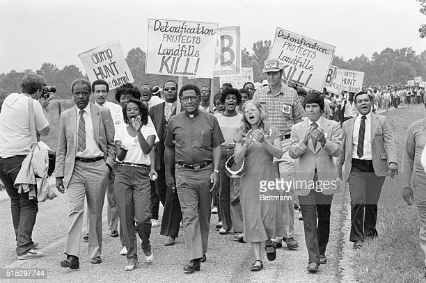 Afton NC Resembling civil rights demonstrators of the 1960's blacks and whites march together in protest against a dump for toxic wastes Many in this...