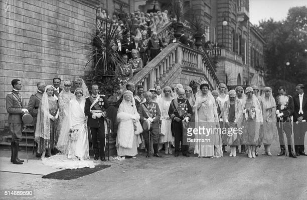 Photo shows the Royal Wedding party at the Italian Royal Palace at Racconigi where the Princess Mafalda second daughter of the King and Queen of...