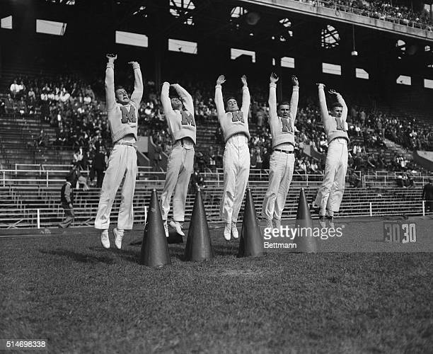10/2/1937Maryland cheerleaders whooping it up L to r Ben Gutch Lloyd Zimmerman Kelso Shipe George Elerman Jack Schwartz