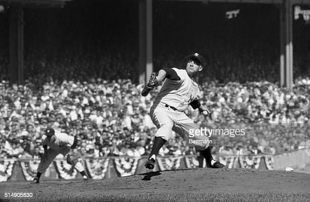 10/2/1957New York NY Yankee Stadium New York Yankees' pitcher Whitey Ford is pictured in action against the Milwaukee Braves in the first game of the...