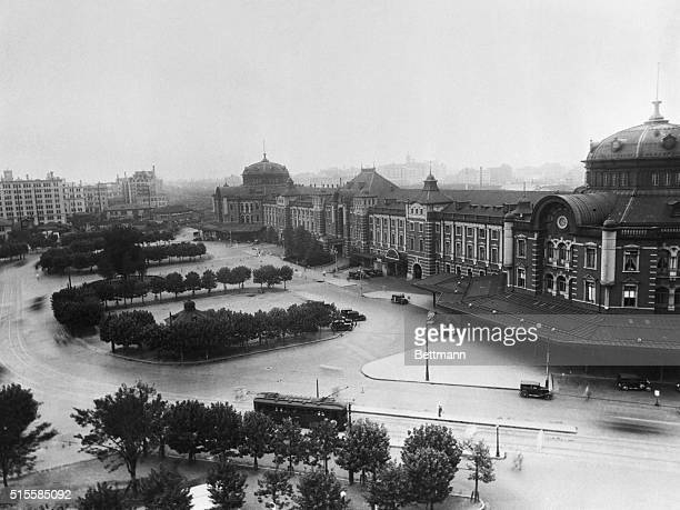 Here is a view of Tokyo Station main terminal for the city and resumably a choice target for American bombers Quaintly the Japanese caption points...