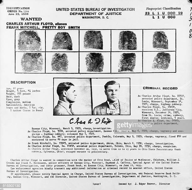 """Department of Justice record and fingerprint of Charles """"Pretty Boy"""" Floyd."""