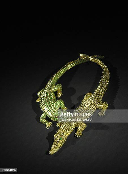 Diamond-Crocodile necklace on display during a press preview of Cartier exhibition at the Tokyo National Museum in Tokyo on March 26, 2009. The...