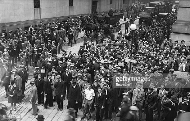 New York NY Thousands in the streets about the NY Stock Exchange as the market experienced the most hectic day of trading in financial history...