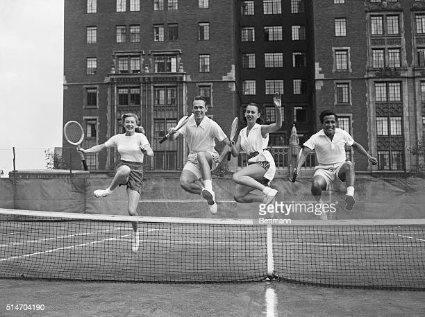 New York NY Sailing high over the net an important part of any tennis player's ability the four members of the Professional Tennis Troupe Pauline...