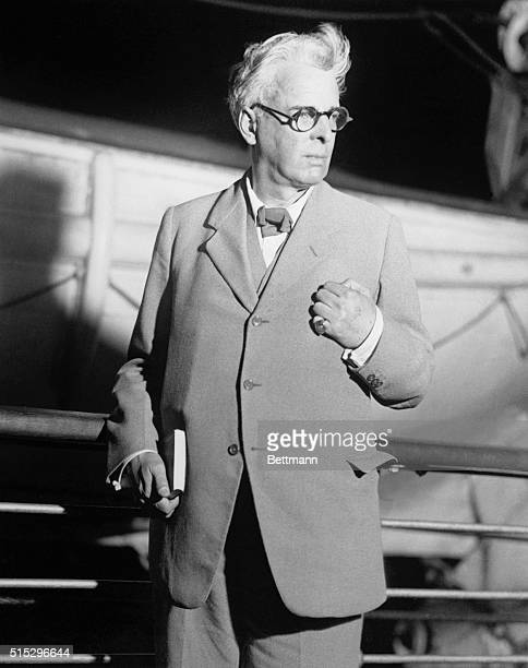 New York, NY - William Butler Yeats, Irish poet, statesman and dramatist, shown as he arrived at New York, Oct. 26, on the S. S. Europa. He is here...