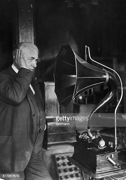 West Orange NJ Portrait of American inventor Thomas A Edison listening to a phonograph