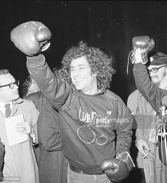 Washington DCDressed in a sweatshirt and boxing gloves Yippie Abbie Hoffman holds a news conference outside the Justice Department 10/27 He landed a...