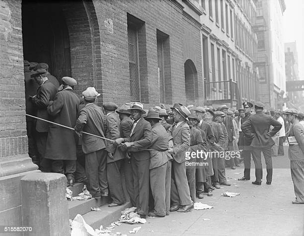 New York NY Thousands of unemployment men in line waiting to register at the Emergency Unemployment Relief Registration offices in New York rioted on...