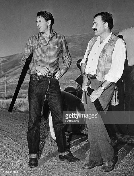 Sun Valley, Idaho-Actor Gary Cooper and Ernest Hemingway, author, on a hunting expedition at Sun Valley.