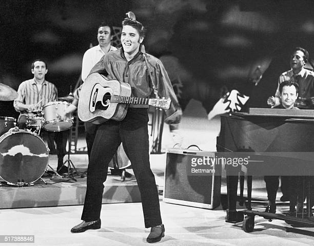 New York NY Elvis Presley rock and roll sensation as he rehearses with his band for 'The Ed Sullivan Show'