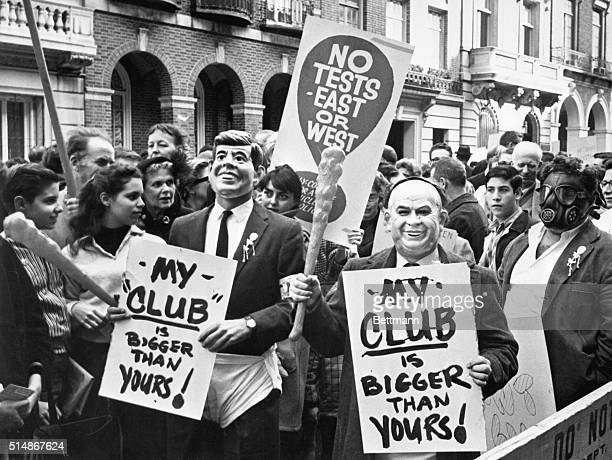 """New York, NY: """"NO TESTS- EAST OR WEST."""" A group of anti-nuclear test demonstrators, part of a larger group some 1,500 strong, display their message..."""