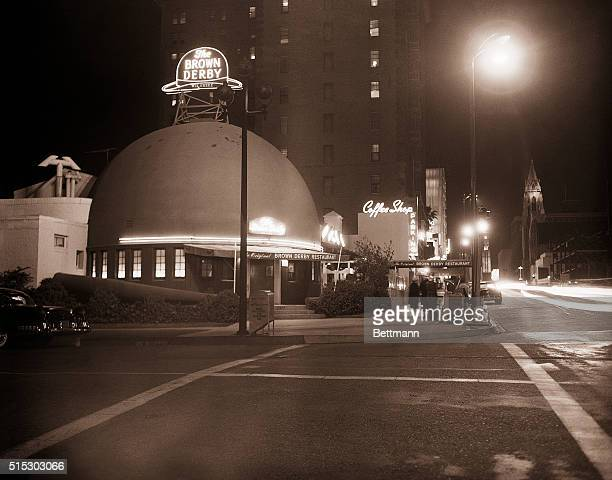 Los AngelesCA This is a night view of the Brown Derby restaurant on Wilshire Blvd in Los Angeles There are several Brown Derby restaurants in the...