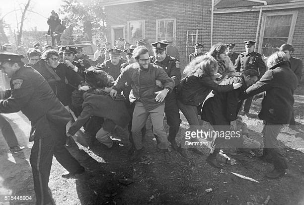 Boston MA Police break up a demonstration by SDS members when they tried to prevent eviction of families from homes in the Brighton section of Boston...