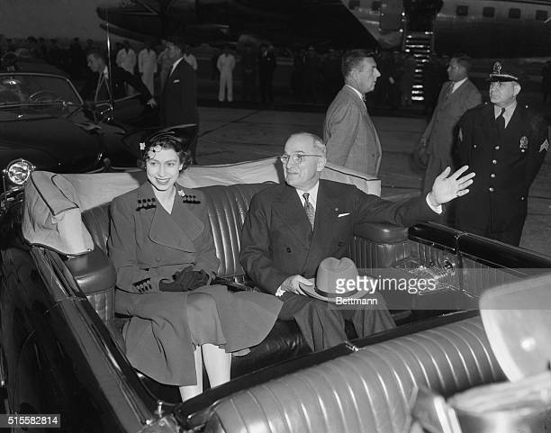Washington DC President Harry S Truman and Britain's Princess Elizabeth are shown as their motorcade got underway following the reception ceremony at...