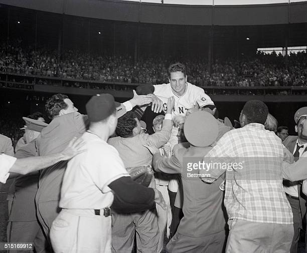 New York, NY- With the Brooklyn Dodgers leading 4-2 in the last half of the ninth inning, Bobby Thomson hit a homer into the left field stands with...