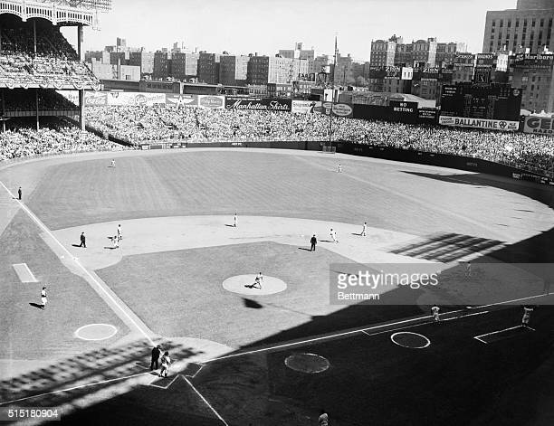 10/3/1955New York NY Here's an overall view of the diamond after Bill Skowron of the Yankees blasted a home run with two on in the first inning of...