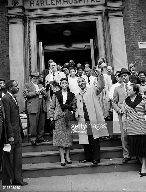 10/3/1958New York NY Martin Luther Kign leaving Harlem Hospital with his wife Corretta