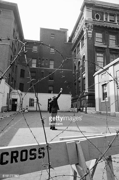 10/3/1970New York NY Representative Adam Clayton Powell of N Y raises a fist in the Black Power salute as he stands alone in the courtyard of the...