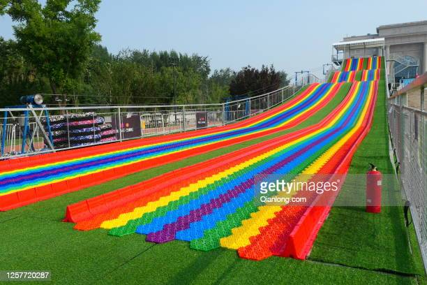 Meter-long rainbow slide is seen at Wukesong's Bloomage LIVE Square on July 22, 2020 in Beijing, China.