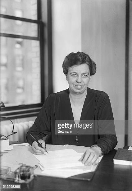 10/4/1928New York NY Photo shows Mrs FD Roosevelt wife of the Democratic Gubenatorial candidate at her desk preparing campaign matter for her husband...