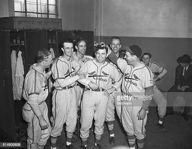 10/4/1942New York NY Max Lanierpopular St Louis Cardinal hurleris surrounded by teammates after the Cardinals had scored their third victory over the...