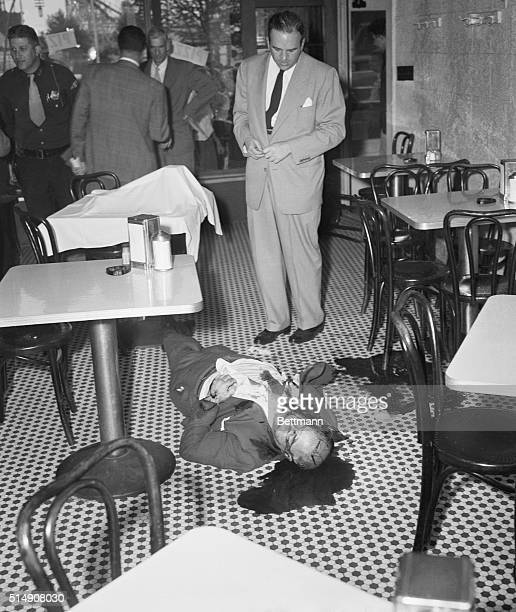 10/4/1951Cliffside Park New JerseyRacketeer Willie Moretti lies in his own blood after being shot to death at 'Joe's Restaurant' Oct 4th Looking down...