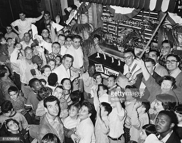 10/4/1955New York NY In downtown Brooklyn dodger fans hold a mock wake for Casey Stengle Yankee Pilot following Dodger victory over the Yanks 20...