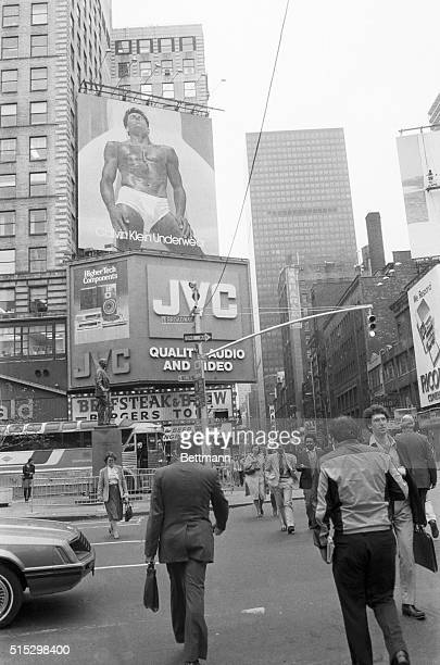 10/4/1982New York NY Star in another of designer Calvin Klein's business ventures men's underwear is Tom Hintinhous appearing on this 40x50 foot...