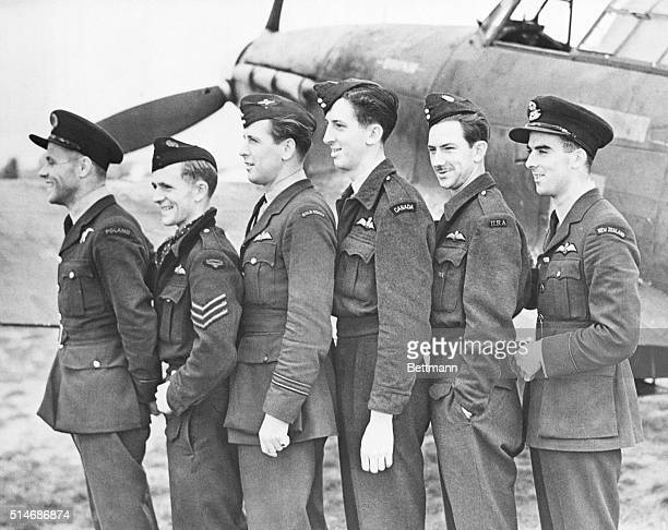 10/42New Brunswick Canada Members of a Hurricane Squadron the first to go over Dieppe Personnel includes Autralians New Zealanders Poles Belgians...