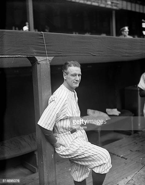 Lou Gehrig the 'Iron Horse' of the New York Yankees is shown as he played an unaccostomed role at the first game of the World Series today the role...