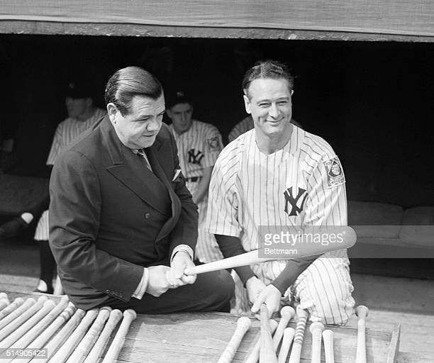 10/5/1939New York NY Babe Ruth with his old Yankee teammate Lou Gehrig nonplaying captain of the New York Yankees just before the American League...