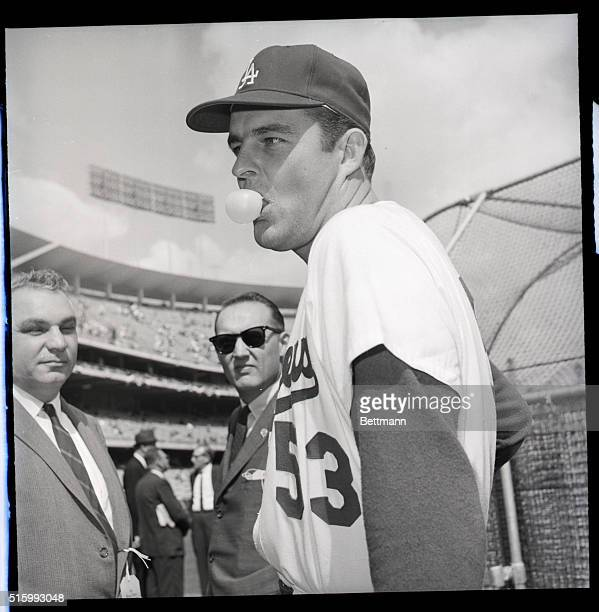 10/5/1963Los Angeles California At Dodger Stadium Los Angeles Dodgers' starting pitcher Don Drysdale obliges photographers as he poses for pictures...