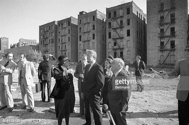 10/5/1977New York NY Standing in front of a row of burned out apartment houses in the South Bronx Oct 5 Housing and Urban Development Secretary...