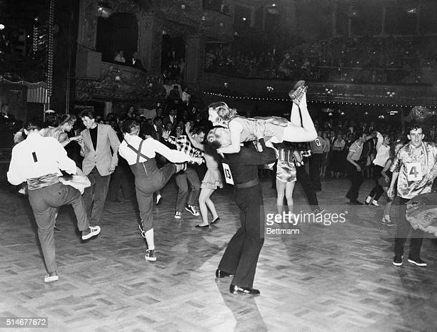 Scene during world rock'n'roll championships held at the Lyceum Ballroom America Denmark Ceylon and Canada were among the nations taking part