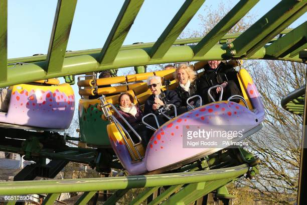 105yearold Jack Reynolds rides the Twistersaurus rollercoaster to raise money for the Derbyshire Leicestershire and Rutland Air Ambulance fund with...
