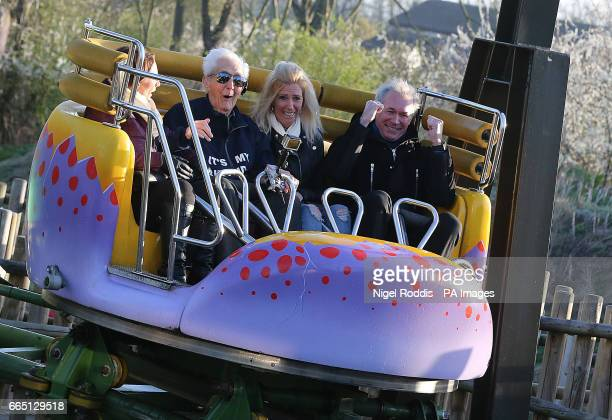 Year-old Jack Reynolds rides the Twistersaurus rollercoaster to raise money for the Derbyshire, Leicestershire and Rutland Air Ambulance fund with...