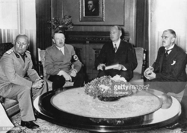 10/6/1938Munich Germany L to R Mussolini Hitler Paul Schmidt Neville Chamberlain