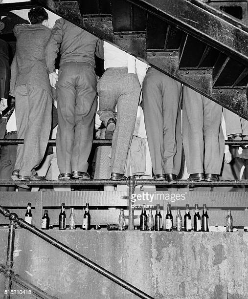 10/6/1946St Louis MO There was standing room only for these spectators and their empty bottles at the World Series opener at Sportsman's Park The Red...