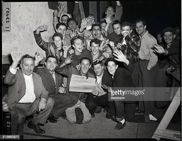 10/6/1949New York NY These Dodger Fans sum up their feelings in a concise form as they wait in line more than 12 hours before the opening of the...