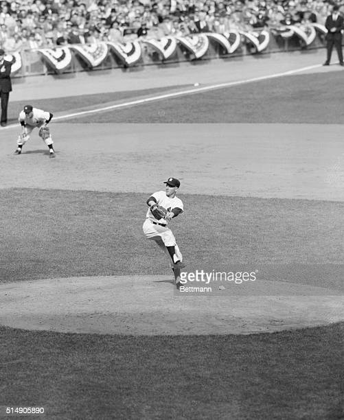 10/6/1956New York NY Ed 'Whitey' Ford ace hurler of the New York Yankees is shown in action pitching to the Brooklyn Dodgers in the 7th inning of the...