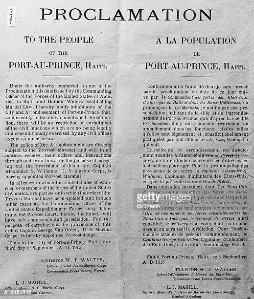 10/7/1915Photo shows the Proclamation of American control in PortauPrince Haitian occupation by US