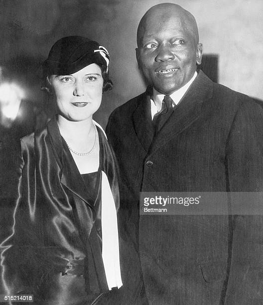 10/7/1931Los Angeles CA Jack Johnson standing with his fourth wife Irene Pineau at the opening of his nightclub The Showboat in Los Angeles The...