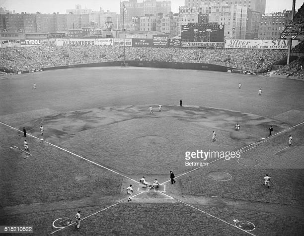 10/7/1950New York NYGen view of Yankee Stadium shows Yank Gene Woodling sliding into home plate in first inning of the 4th World Series Gamethe...