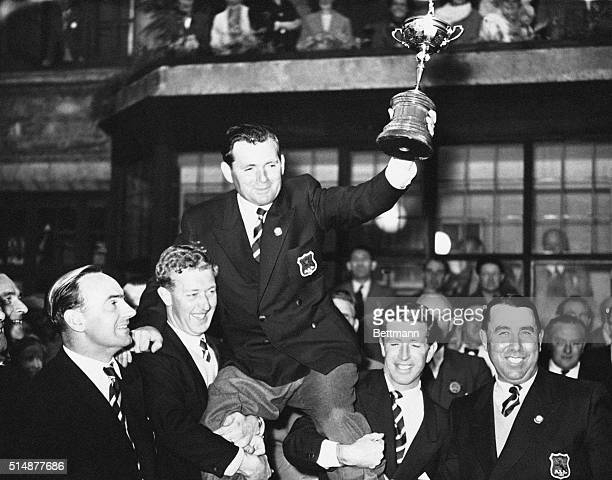 10/7/1957Lindrick England Welshman Dai Rees who served as Captain of the first victorius British Ryder Cup team since 1933 is shouldered by teammates...