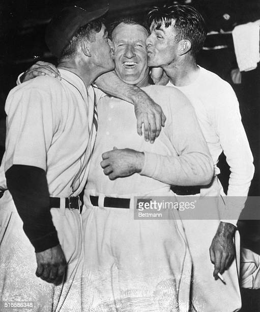 10/8/1935DetroitMI Manager Mickey Cochrane and pitcher Bridges could not control themselves when Goose Goslin drove in the winning run that ended the...